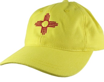 New Mexico State Flag Symbol Red Embroidery Design Adjustable Lemon Yellow Unstructured Classic Baseball Cap Dad Hat + Option to Personalize