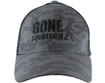 Gone Squatchin Humorous Sasquatch Bigfoot Silhouette Black Embroidery on an Adjustable Urban Camo Structured Trucker Cap