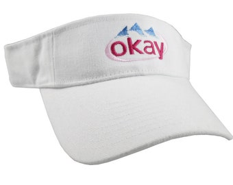Okay Evian Parody Humorous Typographic Header Embroidery Design on an Adjustable White Visor Cap Summer Hat