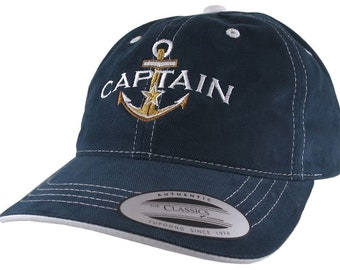 Nautical Golden Star Anchor Boat Captain Embroidery on an Adjustable Navy Blue White Trim Untructured Yupoong Baseball Cap with Options