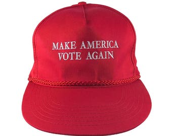 Make America Vote Again White Embroidery 2020 US Elections on a Red Trump Style Golf Corded Adjustable Flat Bill Baseball Cap Casual Party