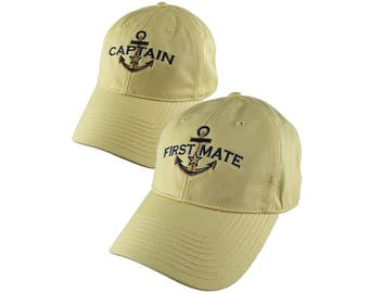 Nautical Golden Star Anchor Captain and First Mate Embroidery 2 Adjustable Retro Yellow Unstructured Caps with Options to Personalize 2 Hats