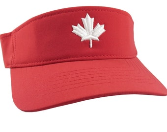 3D Puff White Maple Leaf Embroidery on an Adjustable Sporty Stylish Modern Red Visor Canadian Canada Summer Hat