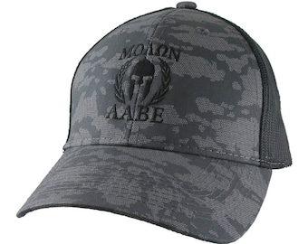 Molon Labe Roman Spartan Warrior Mask in Laurels Black Embroidery on an Adjustable Urban Camo Structured Trucker Style Snapback Ball Cap