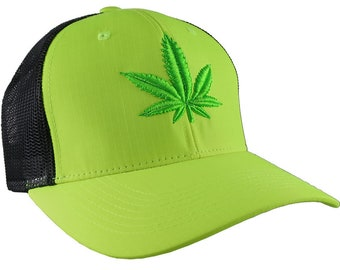 Bud Green 3D Puff Raised Embroidery Marijuana Pot Cannabis Leaf on Adjustable High Profile Structured Safety Yellow Trucker Mesh Fashion Cap