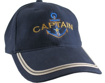 Nautical Star Anchor Captain Embroidery on an Adjustable Navy Blue Structured Fashion Baseball Cap with Options to Personalize This Hat