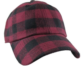 Burgundy Red Buffalo Check Plaid Pattern Soft Structured Fashion Baseball Cap Dad Hat Style with Options to Personalize Front and/or Back