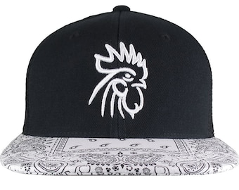 White 3D Puff Rooster Head Raised Embroidery on an Adjustable Structured Stylish Bandana Trucker Black and White Mesh Cap