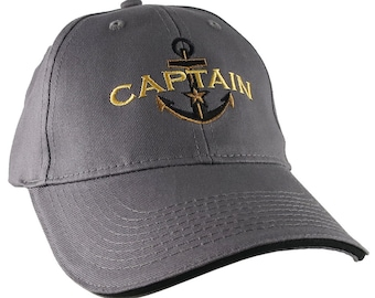 Personalized Captain Star Anchor Embroidery Adjustable Charcoal and Black Structured Fashion Baseball Cap + Options to Personalize Side Back