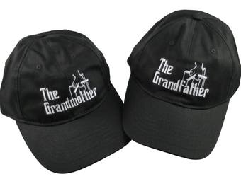 The Grandparents Pair of Caps The Grandmother and The Grandfather Godfather Style Embroidery on Adjustable Unstructured Black Baseball Caps