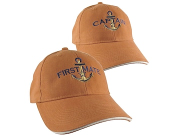 Nautical Star Golden Anchor Captain + First Mate Embroidery 2 Adjustable Burnt Orange Structured Baseball Caps Options Personalize Both Hats