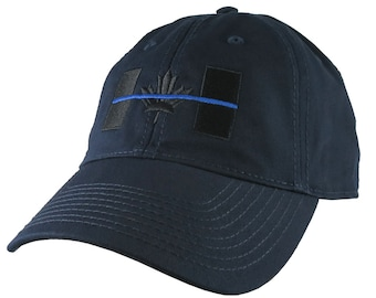 A Canadian Thin Blue Line Symbolic Black and Blue Embroidery on an Adjustable Navy Blue Unstructured Adjustable Classic Fit Baseball Cap