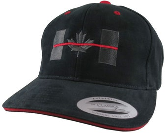 Canadian Thin Red Line Canada Firefighters Symbolic Embroidery Adjustable Black and Red Trimmed Structured Adjustable Yupoong Baseball Cap