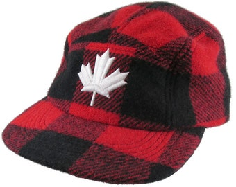 Made in Canada 3D Puff White Maple Leaf Embroidery Red Buffalo Check Plaid Woolen Unstructured Adjustable Fashion Camp Cap Lumberjack Style