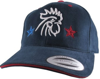 France Double Soccer Stars Rooster 3D Puff Embroidery on an Adjustable Navy Blue and Red Trim Structured Yupoong Baseball Caps + Options