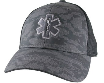 Paramedic EMT EMS Star of Life Embroidery on an Adjustable Silver Grey Urban Camo and Black Structured Premium Trucker Cap