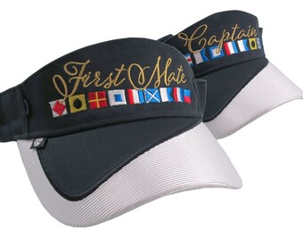 Captain and First Mate Nautical Flags Embroidery Couple Navy Blue and White Visors Duo Adjustable Elegant Fashion Sun Hats