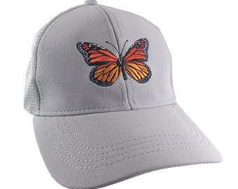 Custom Colorful Monarch Butterfly Embroidery on an Adjustable Structured Silver Grey Trucker Style Mesh Baseball Cap