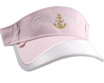 First Mate Nautical Star Anchor Embroidery on a Pink and White Adjustable Visor Cap Elegant Fashion Sun Hat