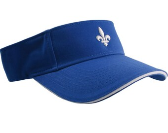 Quebec Style Fleur de Lis 3D Puff White Embroidery on an Adjustable Sporty Stylish Modern Royal Blue Visor Summer Hat