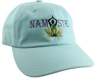 Custom Yoga Pose Om Symbol Lotus Flower Namaste Embroidery on a Turquoise Adjustable Unstructured Dad Hat Style Baseball Cap