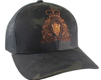 Canadian RCMP GRC Veteran Mounted Police Crest Motto Embroidery Adjustable Structured Yupoong Multicam Trucker Cap + Options to Personalize