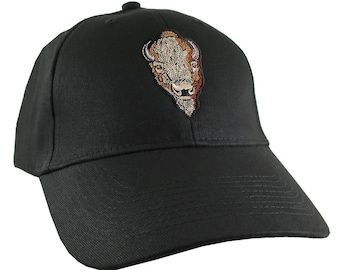 Buffalo Head Embroidery on an Adjustable Black Structured Classic Baseball Cap with Options to Personalize