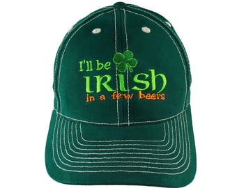 Irish Green Ireland Flag Colors Beer Shamrock Embroidery on an Adjustable Green Structured Baseball Cap with Option to Personalize the Back