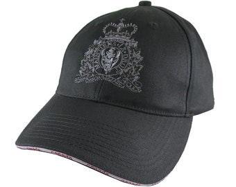 Canadian RCMP GRC Veteran Mounted Police Crest Motto Embroidery Adjustable Black Structured Canada Flag Baseball Cap Options to Personalize
