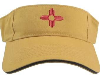 New Mexico State Flag Embroidery on an Adjustable Mango Yellow and Navy Blue Trim Visor Cap