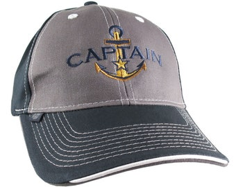 Nautical Star Golden Anchor Boat Captain Embroidery on an Adjustable Charcoal and Navy Structured Baseball Cap with Options to Personalize