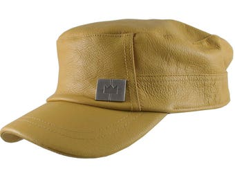 Genuine Mustard Yellow Leather Low Profile Adjustable Army Cadet Flat Fashion Cap