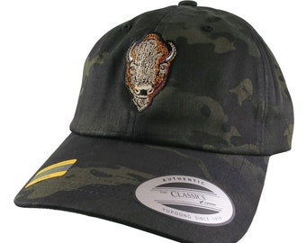 Buffalo Head Embroidery on an Adjustable Black Multicam Yupoong Unstructured Classic Baseball Cap with Options to Personalize