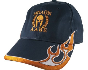 Molon Labe Spartan Warrior Roman Gladiator Laurels Embroidery on Adjustable Navy Blue Structured Orange Devil Flames Baseball Cap + Options