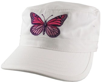 Custom Pink Monarch Butterfly Embroidery on an Adjustable Unstructured White Cadet Style  Fashion Cap