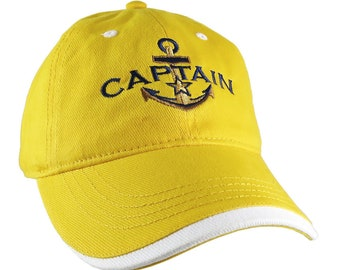Nautical Golden Star Anchor Captain Embroidery on an Adjustable Yellow Unstructured Baseball Cap with Options to Personalize