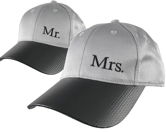 Mr. and Mrs. Duo Newlyweds Husband Wife His Hers Couple Embroidery on 2 Adjustable Soft Structured Silver Baseball Caps + Personalize Option