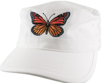 Custom Colorful Monarch Butterfly Embroidery on an Adjustable Unstructured White Cadet Style  Fashion Cap