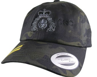 Canadian RCMP GRC Veteran Mounted Police Crest Embroidery Adjustable Black Multicam Unstructured Yupoong Baseball Cap Options to Personalize