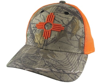 New Mexico State Flag Symbol Orange 3D Puff Raised Embroidery Design on an Adjustable Realtree Camo Structured Classic Trucker Mesh Cap