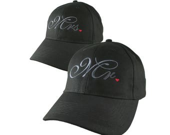 Mr. and Mrs. Duo Newlyweds Husband Wife His Hers Embroidery on 2 Adjustable Structured Black Baseball Caps Option to Personalize the Back