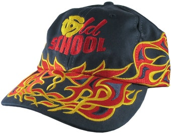 DJ Old School Embroidery on an Adjustable Pinstripe Tribal Racing Flames Soft Structured Fashion Navy Baseball Cap + Option to Personalize