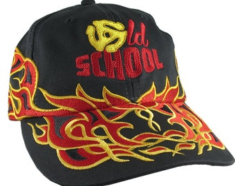 DJ Old School Embroidery on an Adjustable Pinstripe Tribal Racing Flames Soft Structured Fashion Black Baseball Cap + Option to Personalize