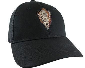 Buffalo Head Embroidery on an Adjustable Black Structured Trucker Style Snap Back Ball Cap
