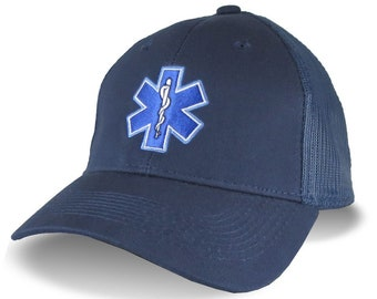 Paramedic EMT EMS Medical Star of Life Embroidery on an Adjustable Navy Blue Soft Structured Trucker Style Classic Mesh Cap