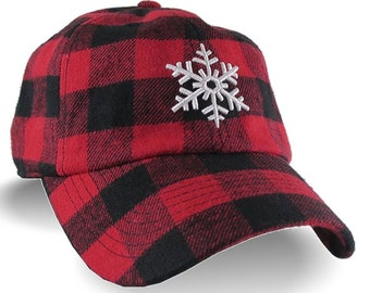 3D Puff Snowflake White Raised Embroidery on Red and Black Buffalo Check Lumberjack Plaid Soft Structured Fashion Baseball Cap Dad Hat Style