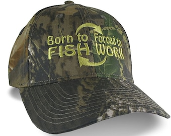 Born to Fish Forced to Work Embroidery on Adjustable Structured Green Woodsman Camouflage Classic Profile Baseball Cap Personalized Options