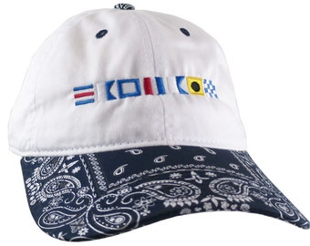 Custom Personalized Captain Nautical Flags Embroidery on a Navy Blue Bandanna Adjustable Unstructured Baseball Cap Dad Hat with Options