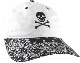 Crossbones Skull Pirate Embroidery on a Black and White Bandanna Adjustable Unstructured Baseball Cap Dad Hat with Options to Personalize