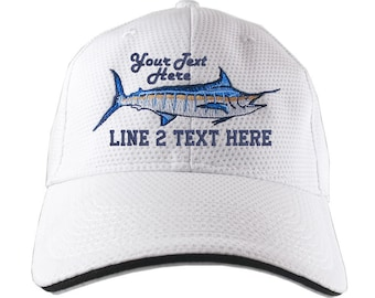 Blue Marlin Fish Embroidery on an Adjustable White Soft Structured UV Thermal Baseball Cap with Options to Personalize 3 Locations